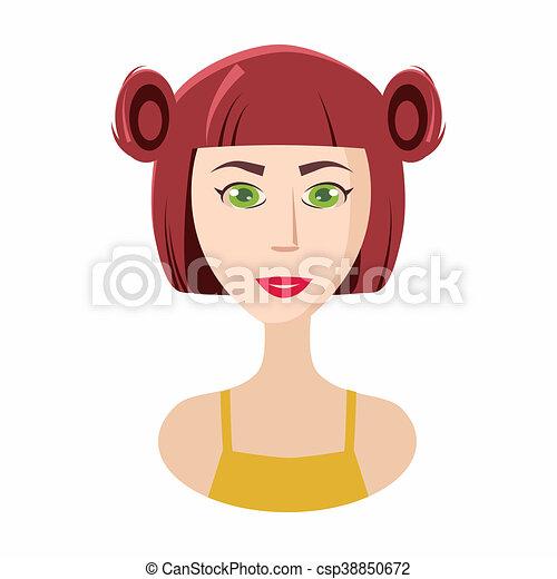 Styl Włosy Kucyki Ikona Dziewczyna Rysunek Styl Symbol