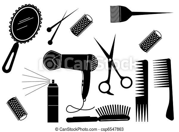 styl, włosy, salon piękna, wektor, element. - csp6547863
