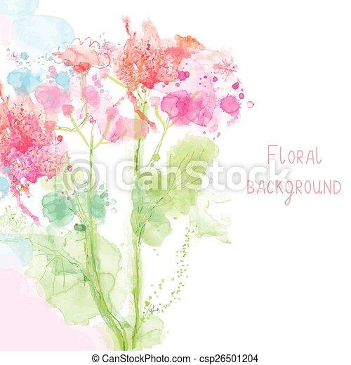 styl, wiosna, -, akwarela, kwiatowy, tło, konserwator - csp26501204