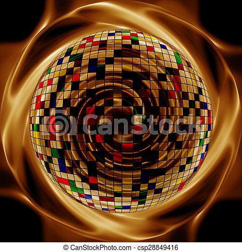 styl, złoty, media, abstrakcyjny, twórczy, tło, mieszany - csp28849416