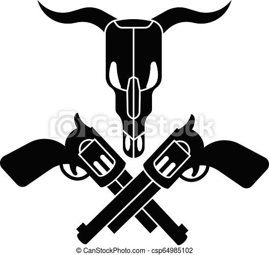 styl, zastraszyć czaszkę, prosty, krzyż, rewolwer, ikona - csp64985102