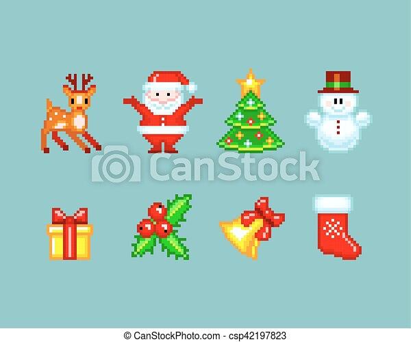 Style éléments Pixel Art Noël