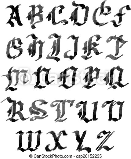 Style alphabet letters gothique encre dessin main vecteurs style alphabet letters gothique encre dessin main thecheapjerseys Image collections