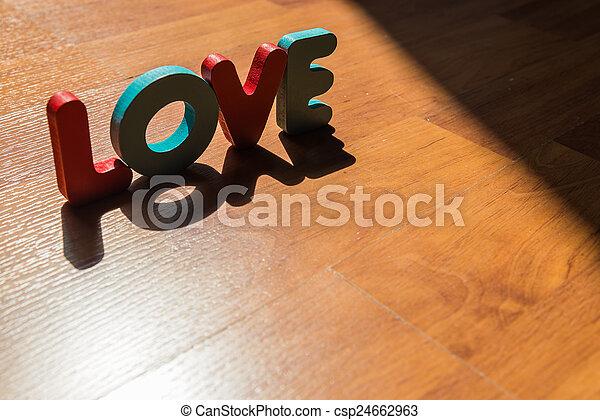 style, amour, plancher, bois, laminate, 3, ombre, mot, ombre - csp24662963