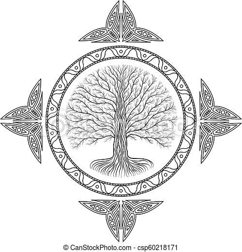 Style Ancien Yggdrasil Arbre Livre Gothique Druidic Logo Rond