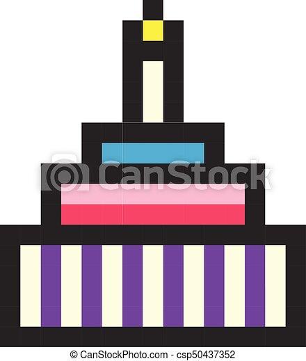 Style Art Pixel Jeu Anniversaire Retro Gâteau Dessin Animé