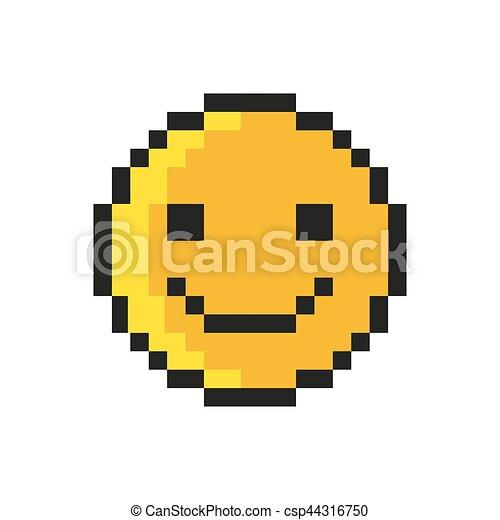 Style Art Smiley Arrière Plan Vecteur Blanc Pixel