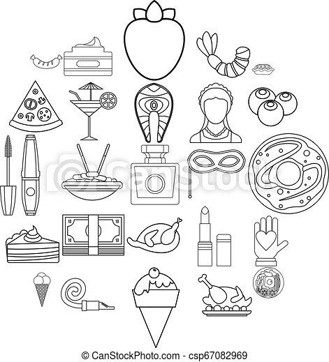 style, balle, contour, icônes, mascarade, ensemble - csp67082969