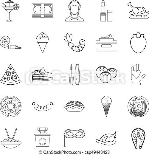 style, balle, contour, icônes, mascarade, ensemble - csp49443423