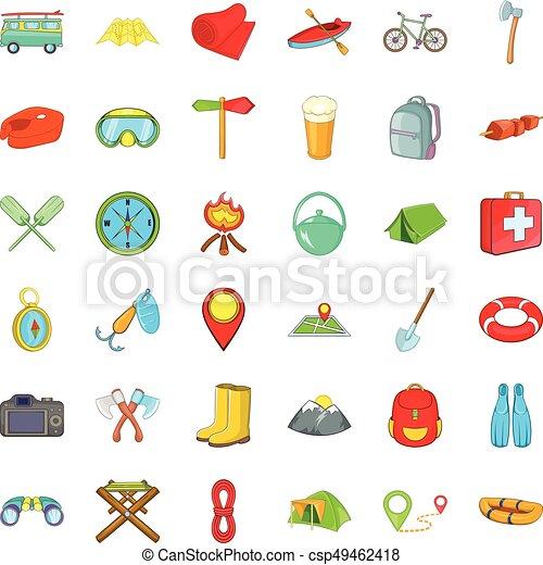 style, camping, icônes, ensemble, amusement, dessin animé - csp49462418