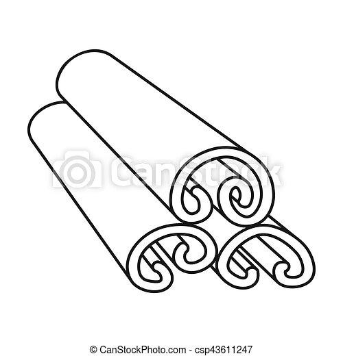 Style Cannelle Contour Icône Aromate Symbole Isolé Arrière Plan Rastr épices Blanc Stockage Illustration