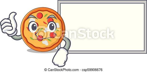 style, caractère, haut, pouces, pizza, dessin animé, planche - csp59906676