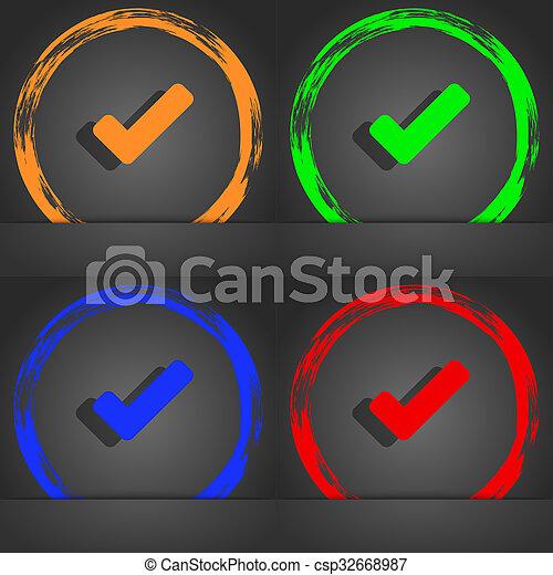 style., chèque, orange, mode, moderne, icône, tik, marque, vert, symbole., vert, bleu, design. - csp32668987