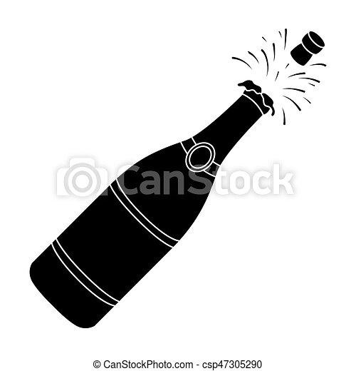 Bouteille De Champagne Dessin toile, style, champagne, illustration., symbole, cork.party, unique