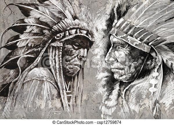 Style Chef Indien Amérique Retro Tête Indigène