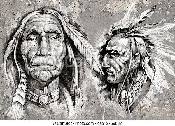 Style Chefs Indien Amérique Retro Tête Indigène