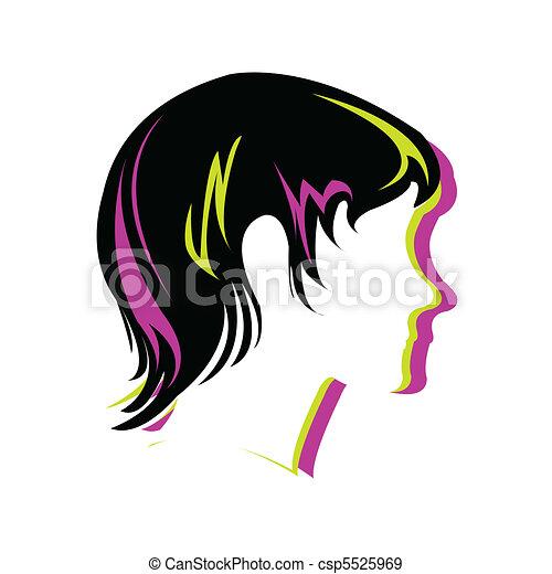 style cheveux, silhouette, figure - csp5525969