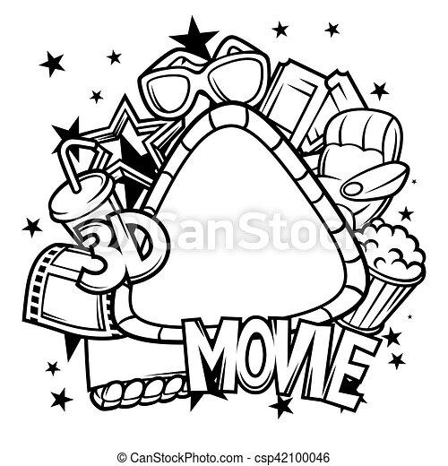 Style cin ma film cadre dessin anim 3d cin ma - Style de dessin ...