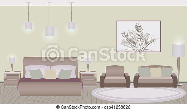 Style, classique, chambre coucher hôtel, intérieur, meubles. Style ...