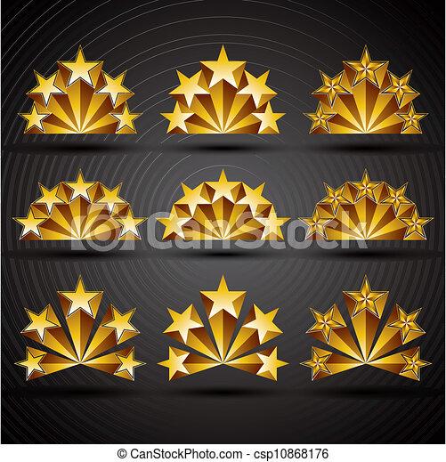 style, classique, set., icônes, cinq, étoiles - csp10868176