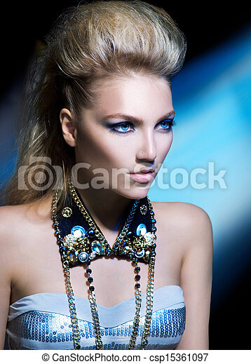 style, coiffure, girl, mode, portrait., modèle, bascule - csp15361097