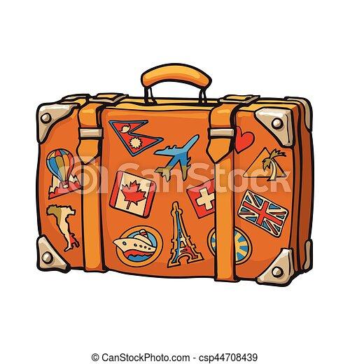 Style color voyage tiquettes main retro valise - Dessin de valise ...