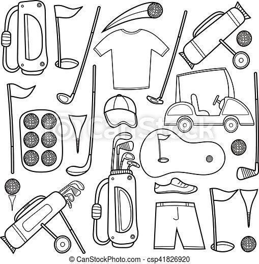 iconos de golf hechos en estilo de dibujos animados. - csp41826920