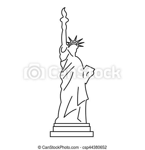 style contour libert statue ic ne toile contour illustration vecteur libert statue. Black Bedroom Furniture Sets. Home Design Ideas