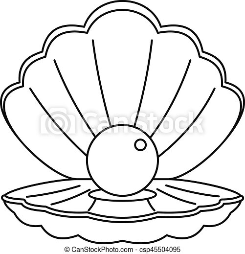 Style coquille contour perle mer ic ne toile coquille contour illustration perle - Dessin coquillage ...