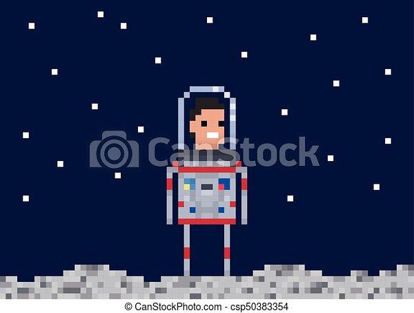 Style Cosmonaute Illustration Gens Art Character Jeu Vecteur Astronaute 8 Morceau Pixel Design