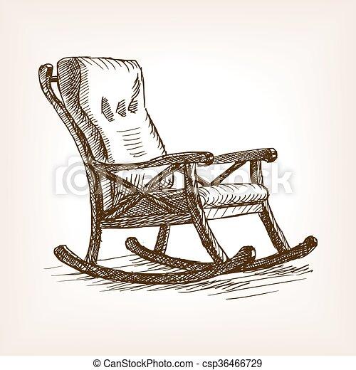 style, croquis, illustration, vecteur, fauteuil bascule - csp36466729