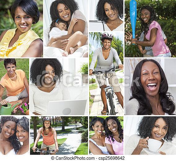 style de vie, femmes, américain, africain femelle, sain - csp25698642
