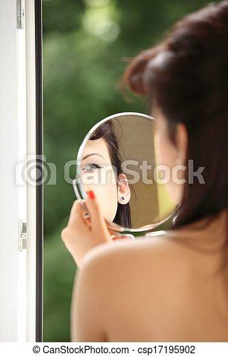 style, demande, faire, intérieur, haut, regarder, retro, miroir, girl - csp17195902