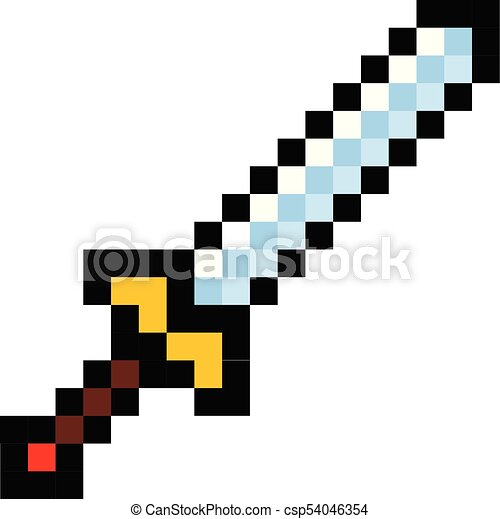 Style Dessin Anime Jeu Video Retro Epee Pixel Icone Style