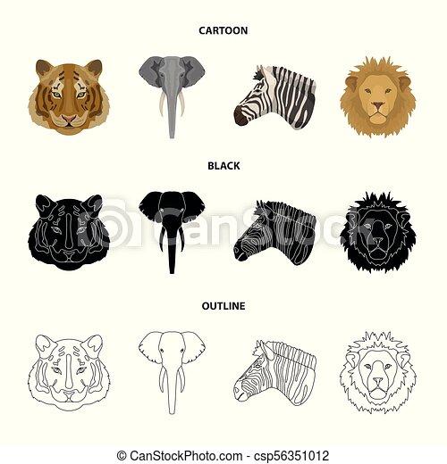 Style Ensemble Animaux Icones Symbole Lion Web
