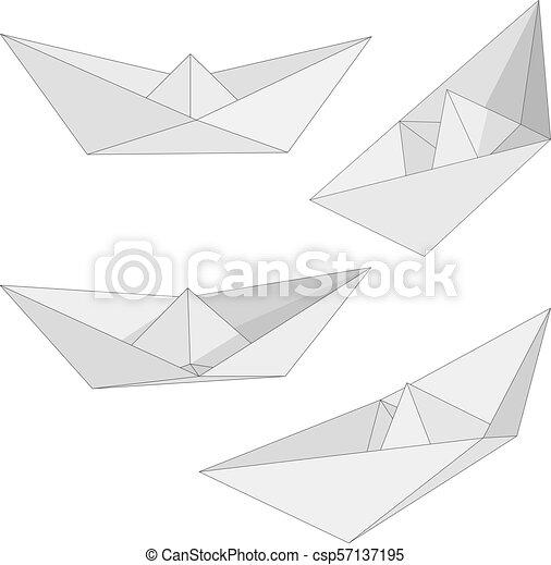 Style Ensemble Figure Plie Isole Views Arriere Plan Papier Divers Bateau Origami Blanc Bateau Style Ensemble Canstock