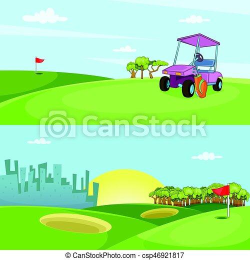 style, ensemble, golf, champ, horizontal, bannière, dessin animé - csp46921817