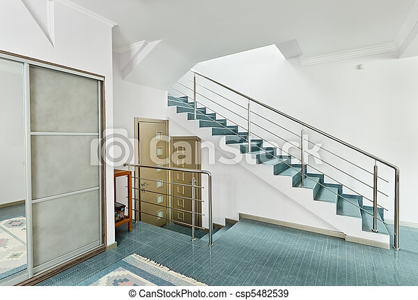 Style, escalier, moderne, métal, intérieur, minimalisme, salle.