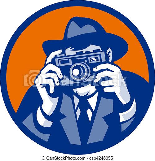 style, fedora, photographe, appareil-photo slr, fait, retro, viser, chapeau - csp4248055