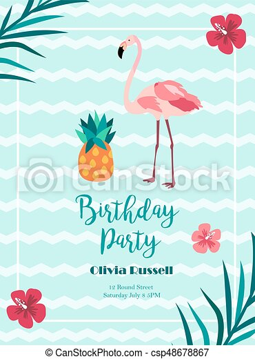 style flamant rose hawaien invitation clair anniversaire ananas. Black Bedroom Furniture Sets. Home Design Ideas