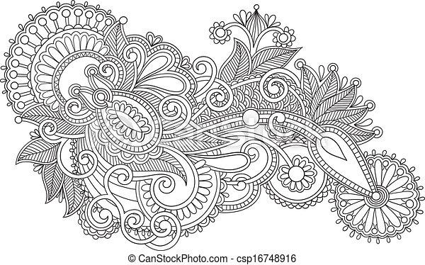 Style Fleur Art Ukrainien Original Dessiner Main Traditionnel Noir Orné Ligne Blanc Design