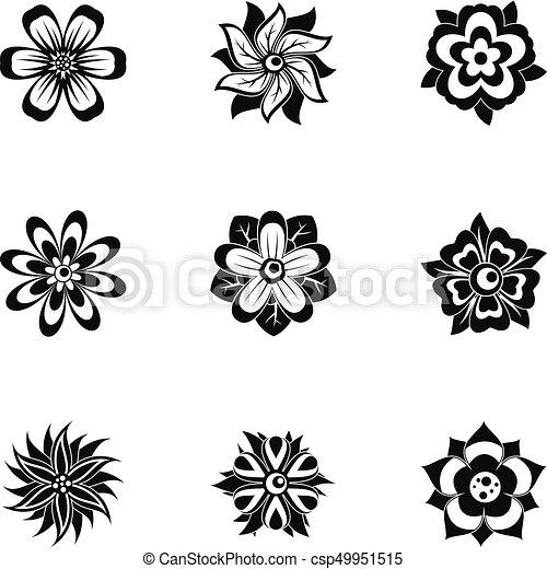 Style Fleur Ensemble Simple Noir Icône