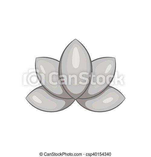 Style Fleur Lotus Noir Icône Monochrome