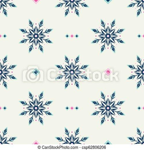 style, grunge, flocons neige, gelée, pattern., glace, ethnique - csp62806206