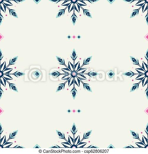 style, grunge, flocons neige, gelée, pattern., glace, ethnique - csp62806207