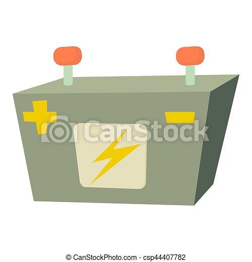 Batterie, voiture, dessin animé, icône. Batterie, voiture