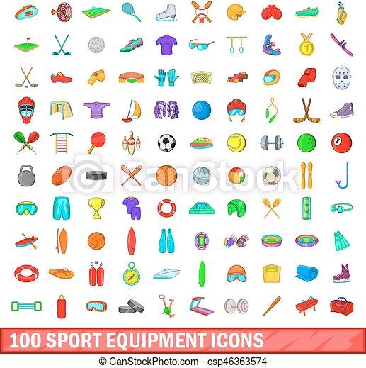 style, icônes, ensemble, équipement, 100, sport, dessin animé - csp46363574