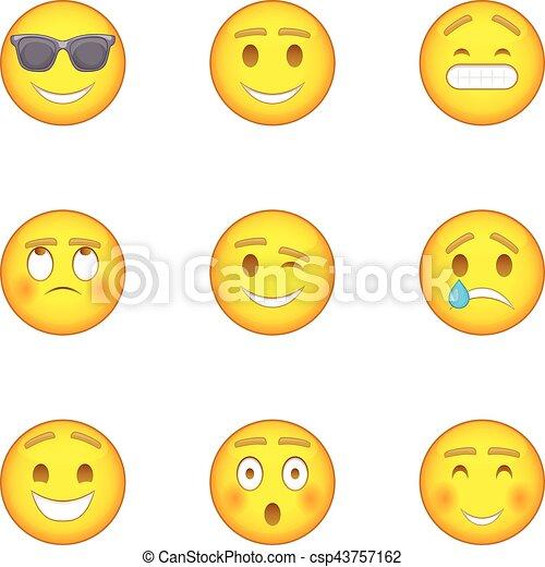 style icnes ensemble caractre dessin anim emoji csp43757162 - Dessin Emoji