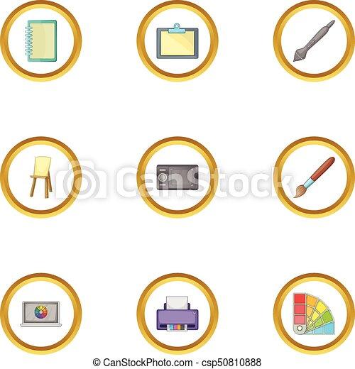 style, icônes, ensemble, outillage, dessin, informatique, dessin animé - csp50810888