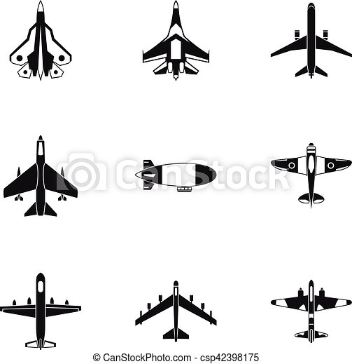 Style ic nes ensemble simple avion militaire ic nes toile simple set illustration - Dessin avion stylise ...